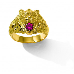 18K BAGUE LION RUBIS SYNTHETIQUE